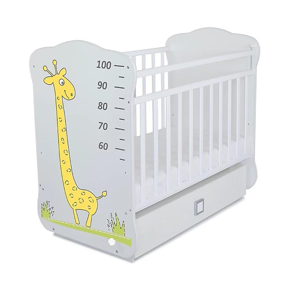Детская кроватка Жираф белый (фотопечать,цвет Белая )