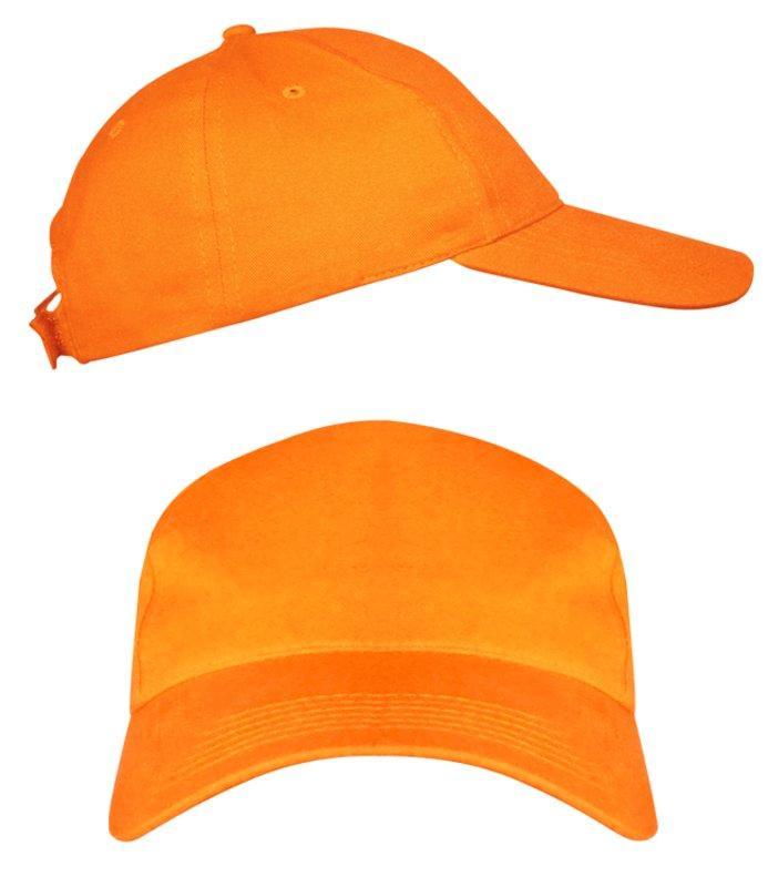 Оранжевые промо кепки под нанесение логотипа