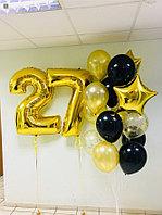 Большой фонтан из шаров и Две фольгированные цифры
