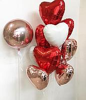 Сердца фольгированные красные, белые, розовые