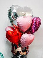 Сердца фольгированные 18 размер красные, белые, розовые