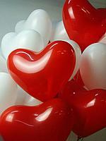 Сердечки красные, белые