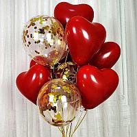 Сердечки красные и шары с конфетти