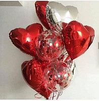 Фольгированные сердца и шары с конфетти