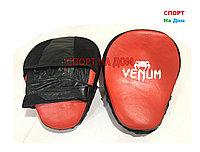 Лапы для отработки ударов руками Venum кожа (красный)
