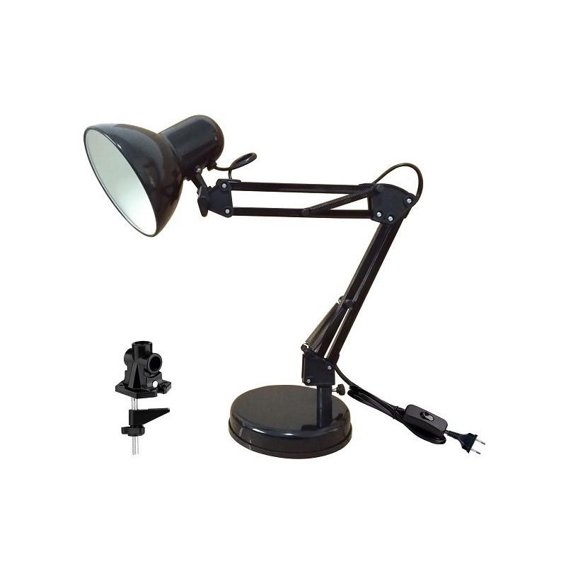 МТ2001 А/С (черный, настольный светильник на основании + струбцина, 40Вт, 220В, Е27)