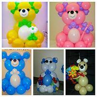 Мишки из шаров всех цветов