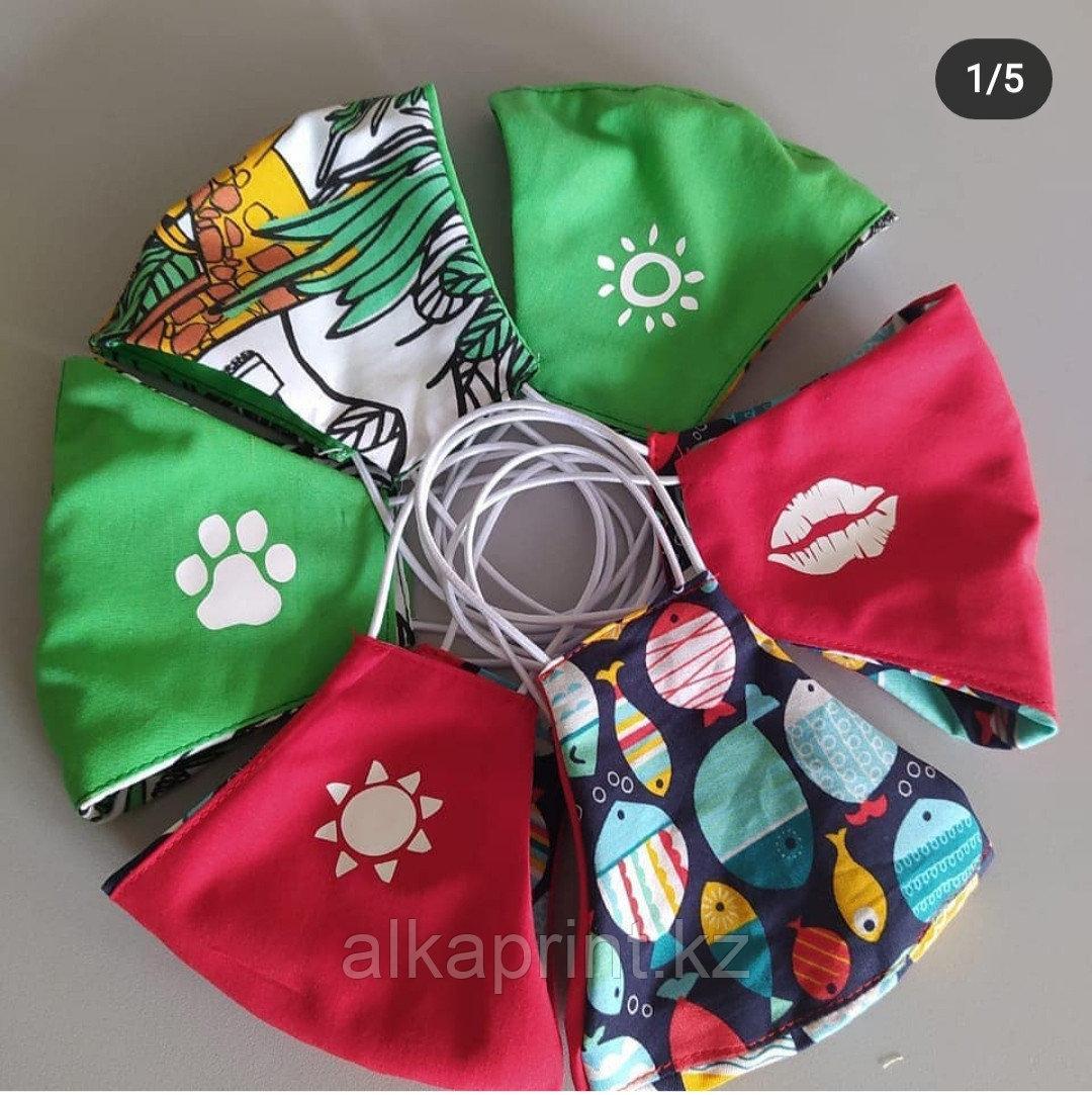 Детские многоразовые маски с принтами