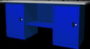 Верстак с двумя тумбами, тумбы с одной дверцей, 1900х686х820 мм OWB2-11