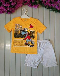Костюм летний с динозавром, цвет желтый,3 годика