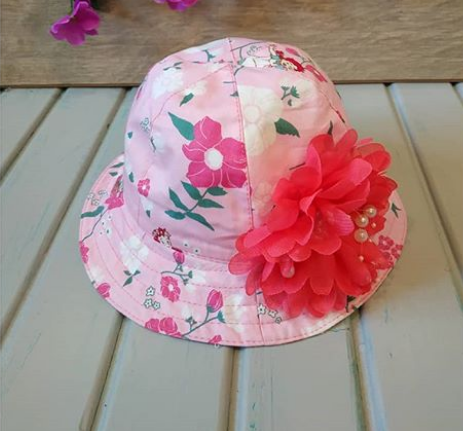 Панамка с цветочками, розовая,1-2 года