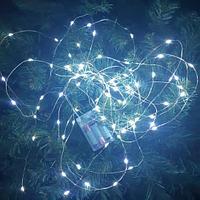 Световая LED гирлянда на батарейках - 10 метров, 100 диодов, белый свет, светит постоянно