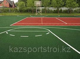 Монтаж баскетбольного поля из резинового покрытия