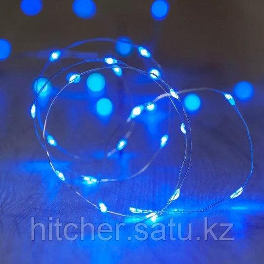 LED гирлянда на батарейках - 10 метров, 100 диодов, синий свет, светит постоянно