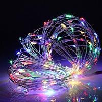 Гирлянда на батарейках - 10 метров, 100 диодов, разноцветная RGB, светит постоянно