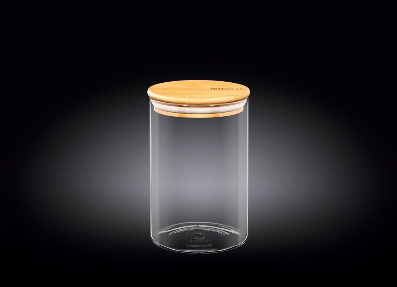 Банка 950 мл Thermo Glass Wilmax с бамбуковой крышкой