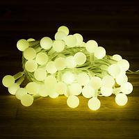 """Световая гирлянда """"Глянцевые шарики"""" - 8 метров, 70 шариков размером 2.5 см, тёплый свет"""