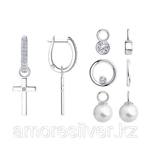 Серьги из серебра с жемчугом и фианитами SOKOLOV 94024109
