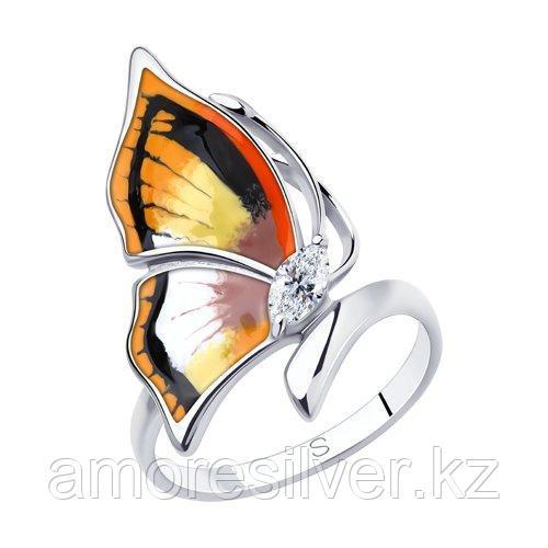 Кольцо из серебра с эмалью и фианитом    SOKOLOV 94013149