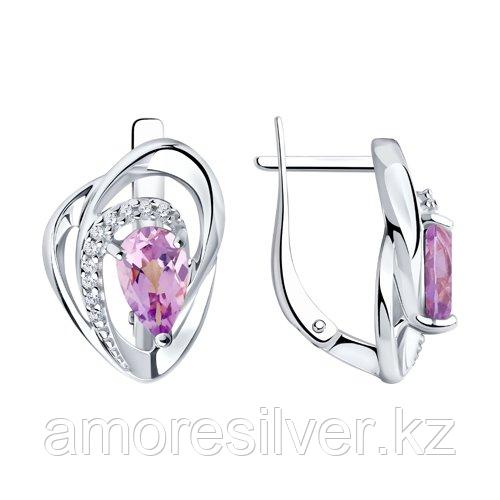 Серебряные серьги с аметистом и фианитом   SOKOLOV 94-320-00630-3