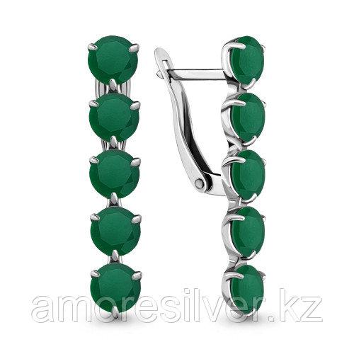 Серебряные серьги с агатом зелёным    Aquamarine 4706809.5