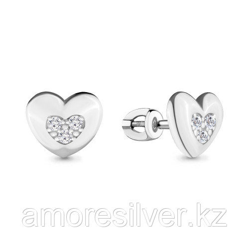 Серьги из серебра с фианитом   Aquamarine 46459А.5