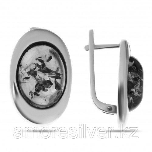 Серебряные серьги с янтарём коньячным    ЯНТАРНАЯ ЛАГУНА 4LKS098