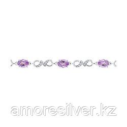 Серебряный браслет с аметистом и фианитом   SOKOLOV 94-350-00586-2