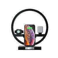 Ночник/Беспроводная док станция/зарядка 4 в 1  для  Iphone,Huawei, Xiaomi, Apple watch, Air pods