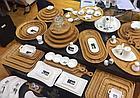 Сервировочное блюдо 35,5х20,5 см Wilmax бамбуковое овальное 3-х секционное, фото 3