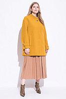 Пальто демисезонное, ворсовая ткань, 48-56, карри, расклешенное