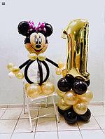 Мини Маус из шаров с Цифрой в золотом цвете