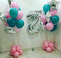 Оформление комнаты Двумя Большими Фонтанами из шаров и Цифрой