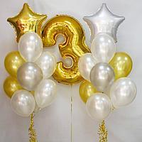Два облака шаров с Цифрой в Золотом цвете