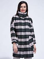 Пальто демисезонное, ворсовая ткань, 40-48, розово-зеленое, классика