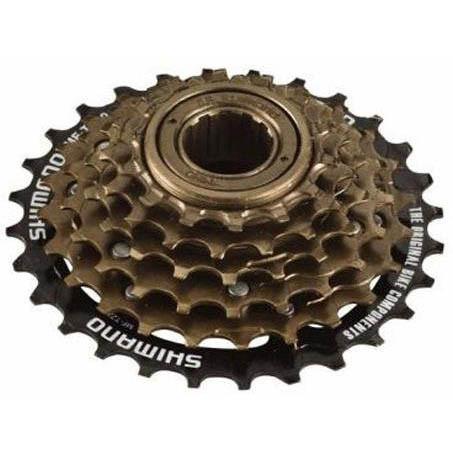 Shimano  касета TZ - 6-spd, 14-16-18-21-24-28T brown- 28T black