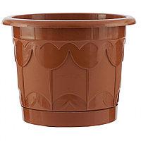 Горшок Тюльпан с поддоном, терракотовый, 1,4 л// Palisad