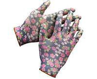 Перчатки GRINDA садовые, прозрачное нитриловое покрытие, размер S-M, черные
