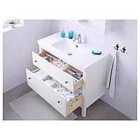 ХЕМНЭС / ОДЕНСВИК Шкаф для раковины с 2 ящ, белый, РУНШЕР смеситель, 103x49x89 см, фото 1