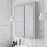 ГОДМОРГОН Зеркальный шкаф с 2 дверцами, Кашён светло-серый, 80x14x96 см, фото 1