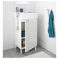 ЛИЛЛОНГЕН Шкаф под раковину с 1 дверцей, белый, ЭНСЕН смеситель, 41x41x87 см, фото 1