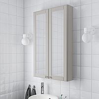 ГОДМОРГОН Зеркальный шкаф с 2 дверцами, Кашён светло-серый, 60x14x96 см