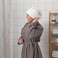 ТРЭТТЕН Полотенце для сушки волос, темно-серый, белый