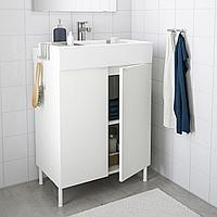 ЛИЛЛОНГЕН Шкаф под раковину с 2 дверц, белый, ЭНСЕН смеситель, 61x41x87 см, фото 1
