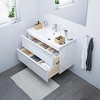 ГОДМОРГОН / ОДЕНСВИК Шкаф для раковины с 2 ящ, глянцевый белый, ДАЛЬШЕР смеситель, 103x49x64 см, фото 1