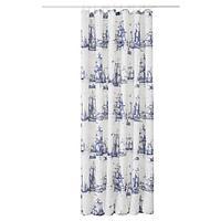 АГГЕРСУНД Штора для ванной, синий, белый, 180x200 см