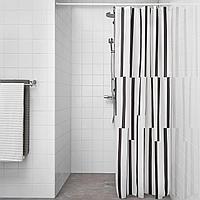 КИННЕН Штора для ванной, белый, черный, черный, белый