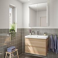 ГОДМОРГОН / ОДЕНСВИК Комплект мебели для ванной,4 предм., под беленый дуб, ДАЛЬШЕР смеситель, бежевый, коричне