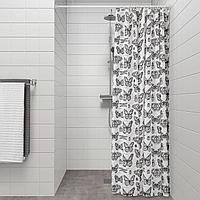 СОММАРМАЛЬВА Штора для ванной, белый, темно-серый, серый, белый, разноцветный
