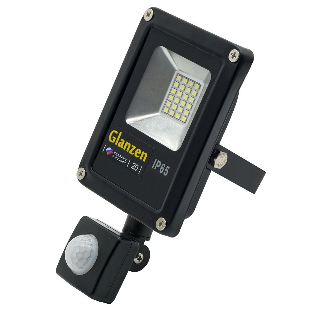 Светодиодный прожектор c датчиком движения GLANZEN FAD-0011-20 (20 Вт,6000К, SIP)